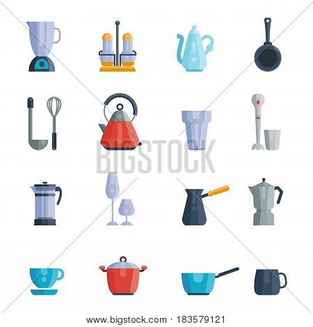 Vector illustration set of food kitchen dishes empty bowls isolated on white background. Cooking collection dishware equipment home or restaurant cuisine pot.