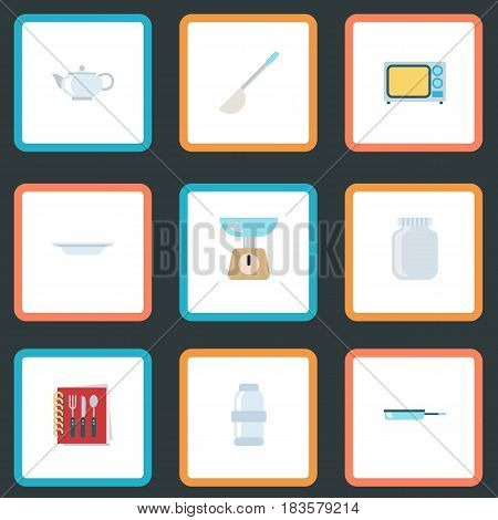 Flat Dish, Electric Stove, Spice And Other Vector Elements. Set Of Cooking Flat Symbols Also Includes Shaker, Ladle, Dishware Objects.