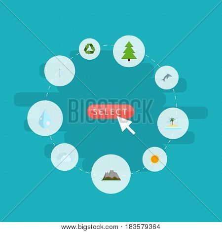 Flat Tree, Sunshine, Water And Other Vector Elements. Set Of Environment Flat Symbols Also Includes Blob, Nature, Tree Objects.