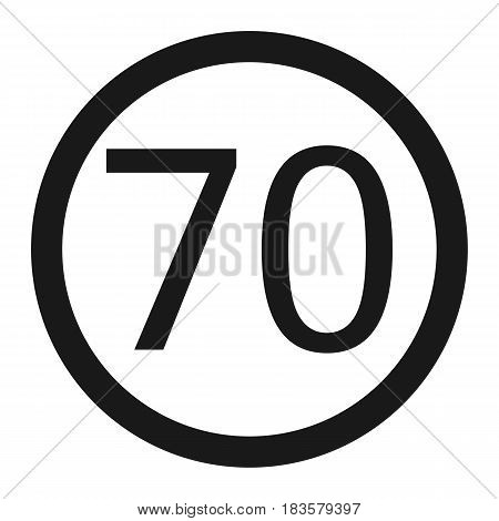 Maximum speed limit 70 line icon Traffic and road sign vector graphics a solid pattern on a white background eps 10.