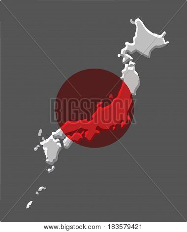 Japan map vector with the japanese flag on grey background