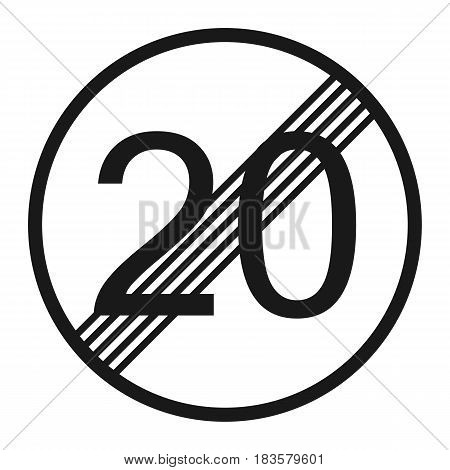 End maximum speed limit 20 sign line icon Traffic and road sign vector graphics a solid pattern on a white background eps 10.
