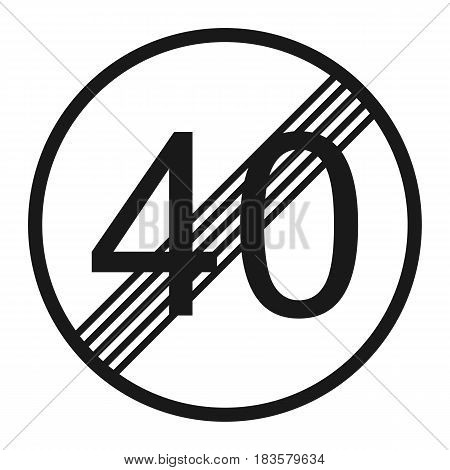 End maximum speed limit 40 sign line icon Traffic and road sign vector graphics a solid pattern on a white background eps 10.