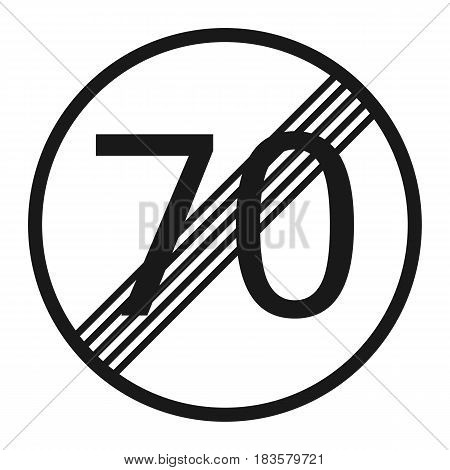 End maximum speed limit 70 sign line icon Traffic and road sign vector graphics a solid pattern on a white background eps 10.