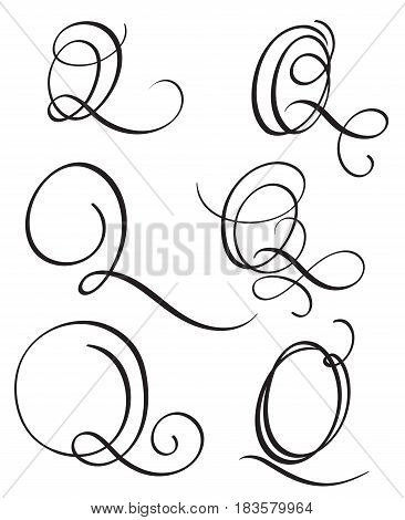 set of art calligraphy letter Q with flourish of vintage decorative whorls. Vector illustration EPS10.