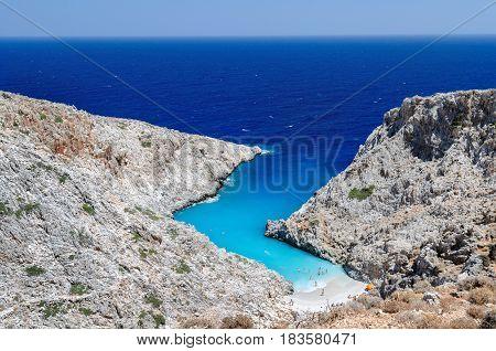 Small beautiful blue lagoon on Crete island