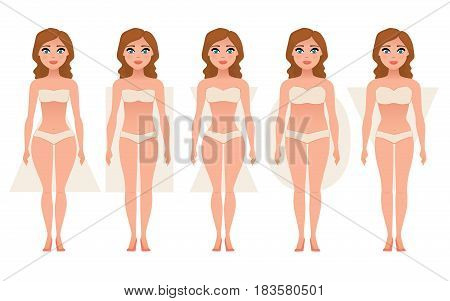 Female body figures. Woman shapes, five types hourglass, triangle, inverted triangle, rectangle pear, rounded Vector illustration
