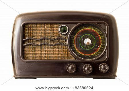Old vintage art deco radio isolated on white background