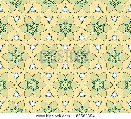 Easy Festive Ornament From Abstract Flower In The Style Of Geometric Transformations. Vector. For Re