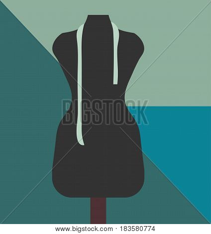 Taylor shop or dressmaker minimalist poster with taylor's dummy also known as dressmaker's form display bust dress form lay figure manikin or mannequin. Great for modiste atelier or boutique.