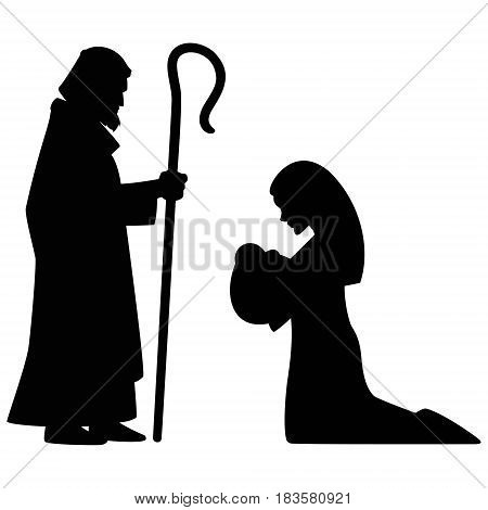A vector silhouette illustration of Mary, Joseph and Jesus.
