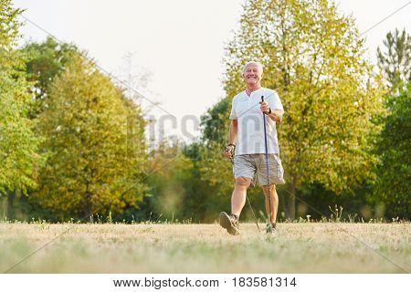 Active senior man during heatlhy nordic walk in the nature