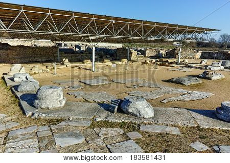 Ruins of octagon church in the archeological area of ancient Philippi, Eastern Macedonia and Thrace, Greece