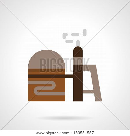 Element of refinery facility - gas storage. Industrial architecture and constructions. Flat color style vector icon.