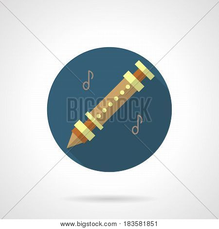 Abstract flute with notes. Woodwind musical instruments tunes. Round flat design vector icon.