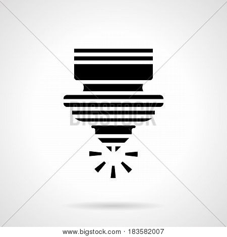 Abstract monochrome symbol of laser cutting machine. Industrial modern technology. Symbolic black glyph style vector icon.