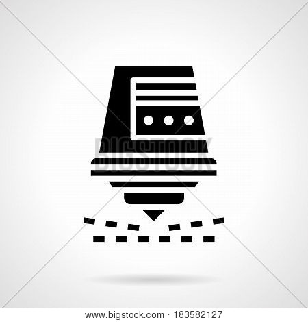 Abstract monochrome symbol of laser cutter for metal. Industrial modern technology. Symbolic black glyph style vector icon.