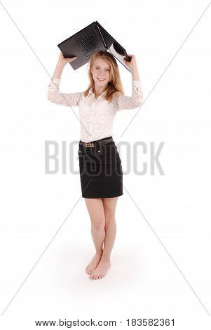 Happy student teenage girl with laptop. Isolated on white