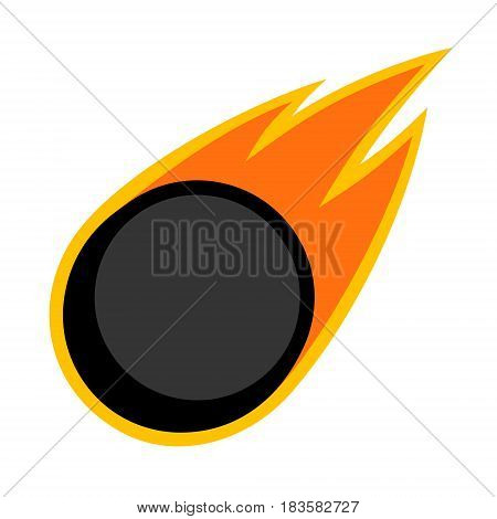 Ice hockey sport comet fire tail flying puck logo