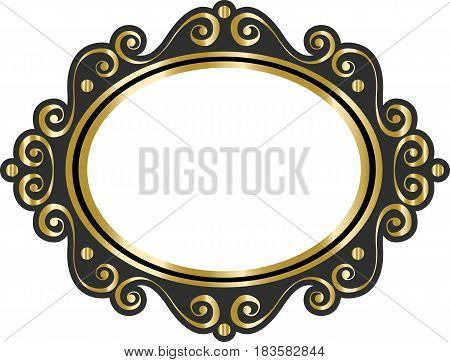 Vector lace blank vintage cartoon photo picture frame on white background. Design to make a wedding card invitation menu.