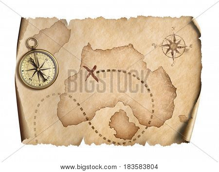 old world map with compass isolated 3d illustration