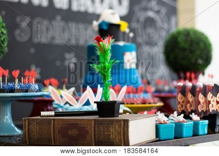 A special birthday decoration with magician elements and a magic flower in a small vase.