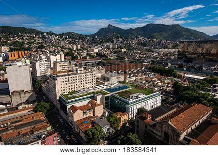 Aerial View of Rio de Janeiro City Center, Corcovado Mountain Can Be Seen in the Horizon
