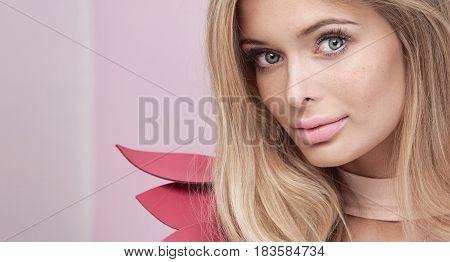 Beauty Portrait Of Blonde Natural Woman.