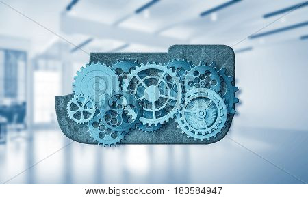 Color gears and cogwheels mechanism or engine on white office background. 3d rendering