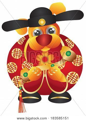 2018 Happy Chinese Lunar New Year of the Dog Prosperity Money God with Ruyi Scepter and Prosperity text on Tag vector Illustration Isolated on White Background