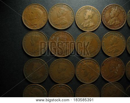 Pre Decimal One Half Penny Vintage Australian Coin Collection. Obverse side. poster