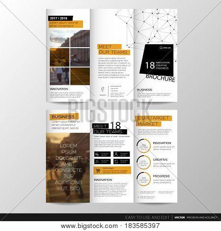 Trifold Business Brochure Leaflet Flyer or booklet template. Flat design set. Vector Illustration.