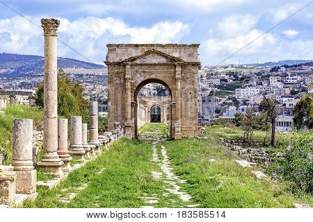 The north Tetrapylon in Jerash, Jordan. Tetrapylon means