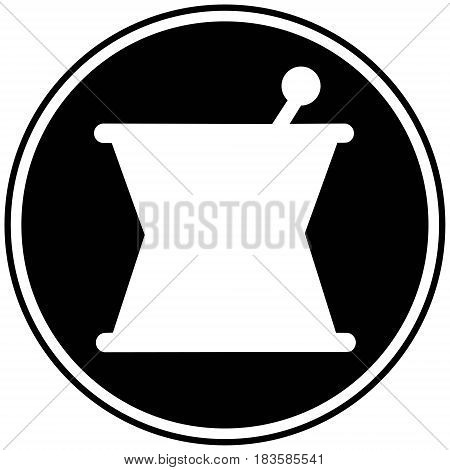 A vector illustration of a Mortar and Pestle icon.