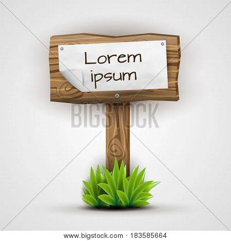 Wooden sign with crumpled paper attached standing on a plank, stucked in juicy grass.  Realistic plank of wood illustration in natural colors and pseudo 3d. Vector illustration.