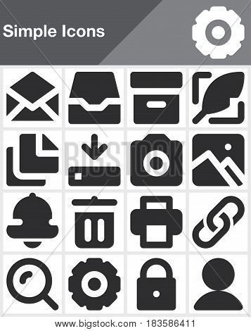 Simple universal vector icons set modern solid symbol collection filled style pictogram pack isolated on white. Signs logo illustration web graphics