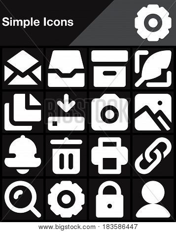 Simple universal vector icons set modern solid symbol collection filled white pictogram pack isolated on black. Signs logo illustration web graphics