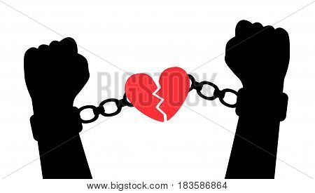 Hands tear handcuffs with a heart symbolizing love