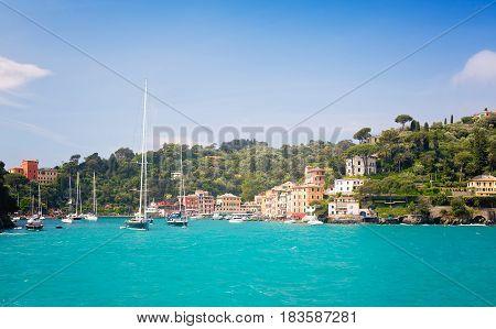 Beautiful sea coast with colorful houses in Portofino Italy