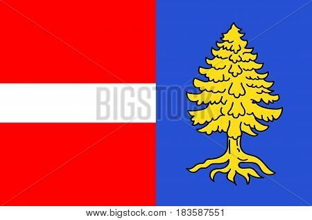 Flag of Thann is a commune in the northeastern French department of Haut-Rhin in Grand Est. 3d illustration