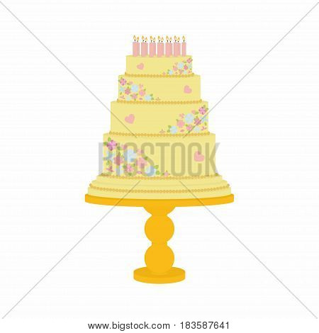 cake decorated with flowers on a stand, sweet art on white background, Birthday cake