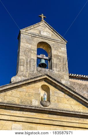 Church in Rauzan village, the Gironde department of France