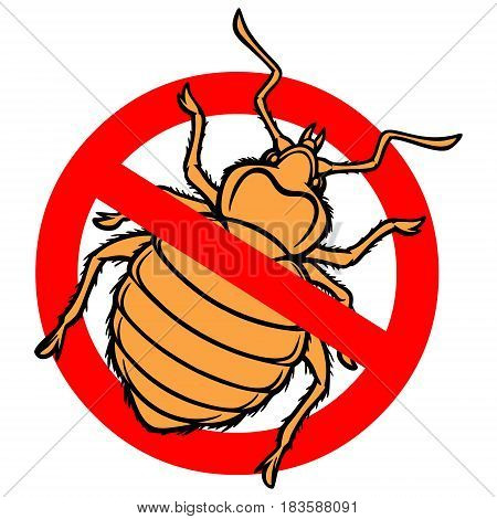 A vector illustration of a Bed Bug warning sign.