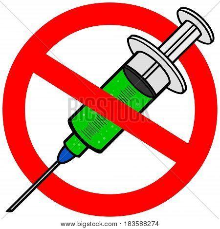 A vector illustration of a No Flu Shot warning sign.