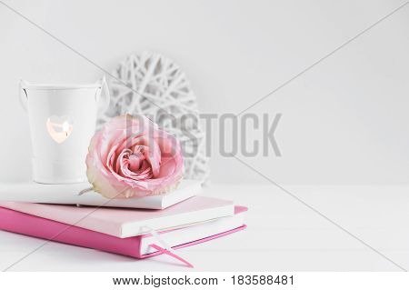 Wall Mockup Floral Styled Stock Photograph