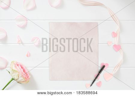 Stationery Mockup Floral Styled Stock Photograph
