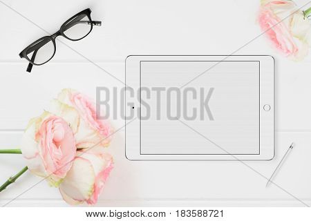 Tablet Mockup Floral Styled Stock Photograph