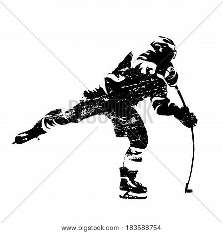 Scratched vector silhouette of shooting ice hockey player