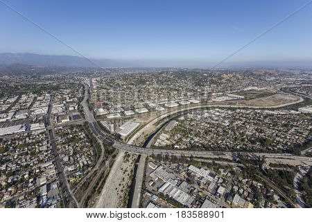 Aerial view of the Glendale Freeway crossing the Los Angeles River in Southern California.