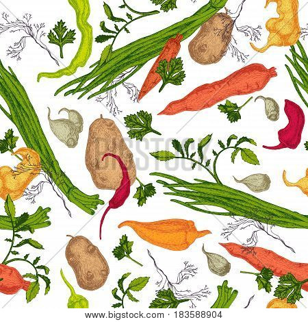 Colored seamless pattern with hand drawn Vegetables sketch isolated on white background.
